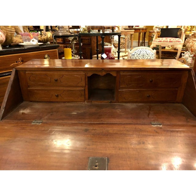 Wood Antique French Country Slant Front Secretary Desk For Sale - Image 7 of 8
