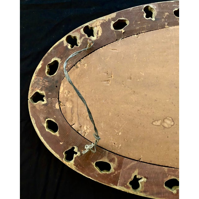 20th Century Italian Gilt Carved Wood Oval Beveled Wall Mirror For Sale - Image 9 of 10
