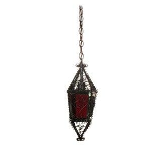 Small Moorish Lantern with Red Glass Handmade For Sale