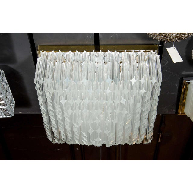 Mid-Century Modern Mid-Century Modernist Crystal Flush Mount Chandelier by Camer For Sale - Image 3 of 7