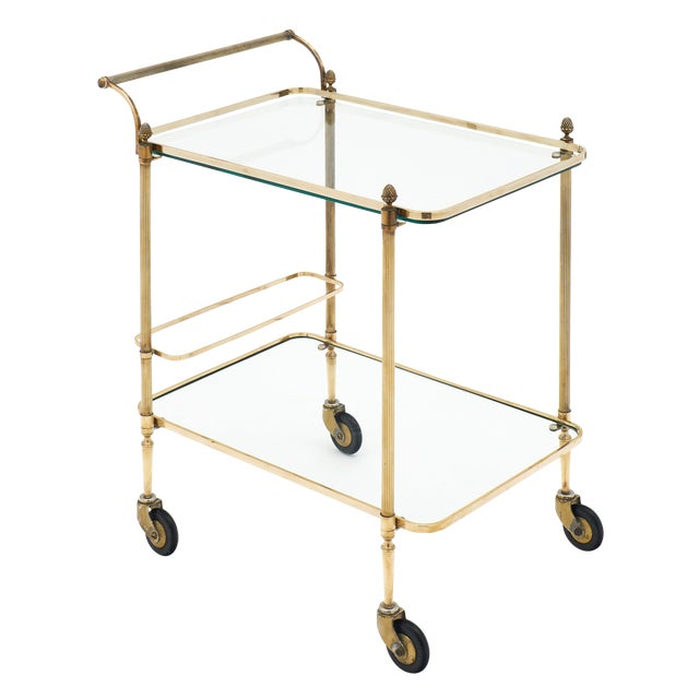 French Art Deco Period Brass Bar Cart With Finials For Sale