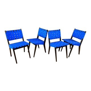Set of Four Risom for KnollStudio Side Chairs, Ebony With Blue Webbing, 2010s For Sale