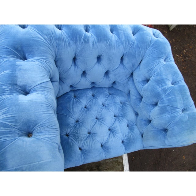 Stunning sky blue tufted tuxedo chesterfield style arm chair. Gorgeous blue would make a fabulous photography prop. Quite...