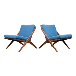 Folke Ohlsson for Dux Teak Scissor Chairs, Restored - a Pair For Sale