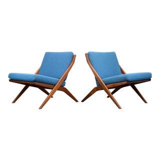 Folke Ohlsson for Dux Teak Scissor Chairs, Restored - a Pair