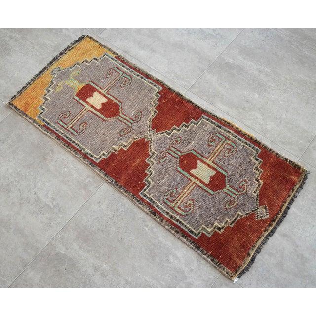 Boho Chic Distressed Low Pile Kurdish Medallion Yastik Rug Faded Colors Vintage Petite Rug - 19'' X 43'' For Sale - Image 3 of 4