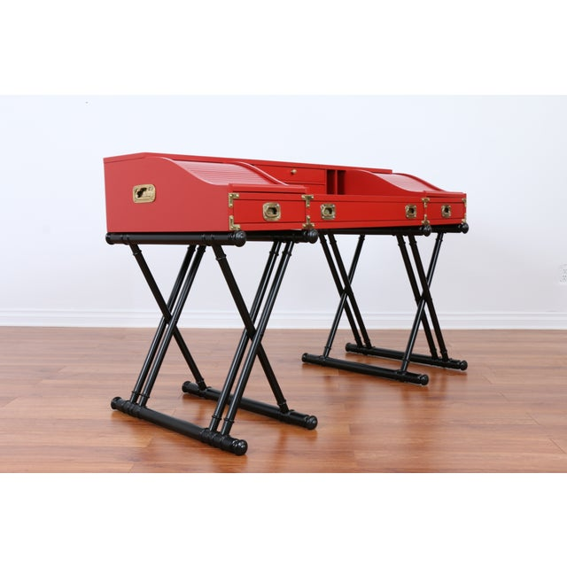 Red Hollywood Regency Campaign Executive Desk - Image 4 of 6