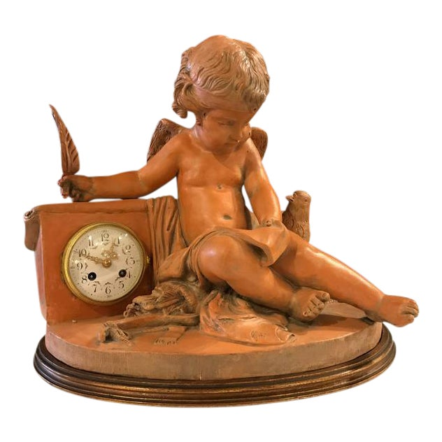 French Terracotta Cherub Mantle Clock For Sale