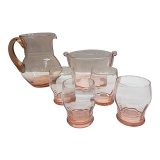 Vintage Depression Pink Color Glassware Pitcher, Ice Bucket, Glasses - 6 Piece Set For Sale