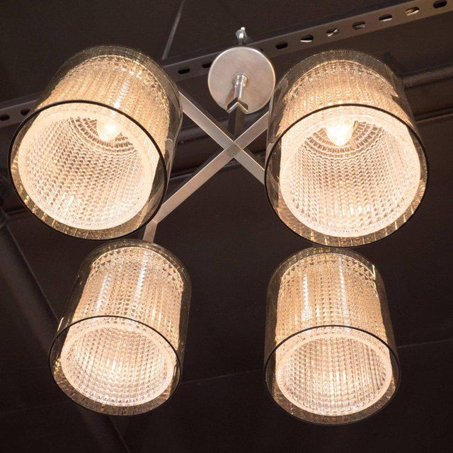 Scandinavian Mid-Century Modern Four-Arm Chandelier, Carl Fagerlund for Orrefors For Sale In New York - Image 6 of 11