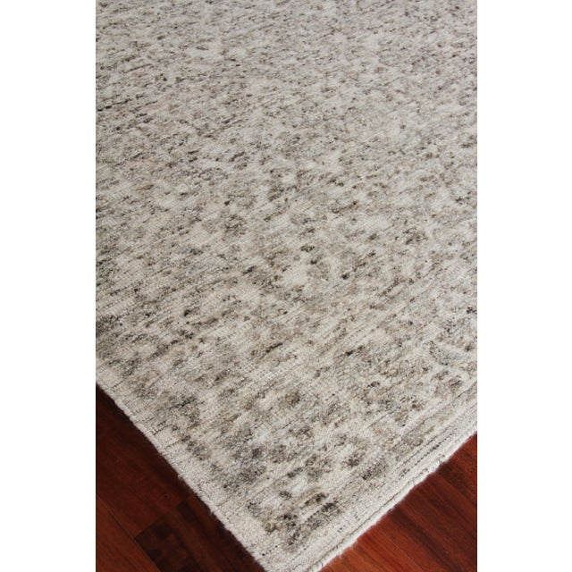 """Textile Sens Hand knotted Wool/Viscose Ivory/Gray Rug-10'x14"""" For Sale - Image 7 of 8"""