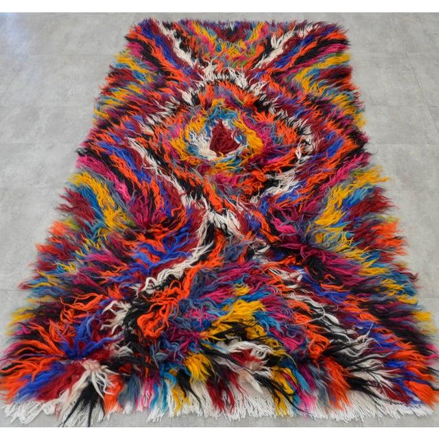 "Vintage Boho Chic Mohair Shaggy Tulu Kilim - 3'6"" X 7'3"" - Image 5 of 10"