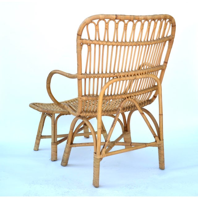 Vintage Rattan Bamboo Chair and Ottoman For Sale In Los Angeles - Image 6 of 7