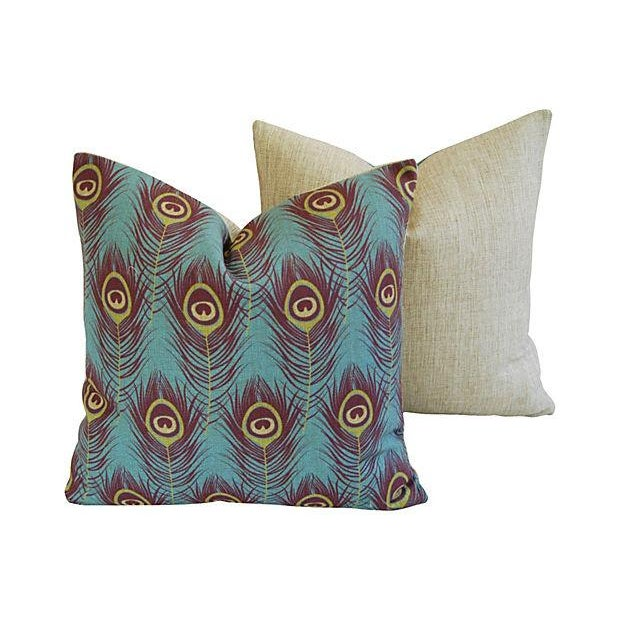 Custom Peacock Feather Linen Pillows - Pair - Image 4 of 7