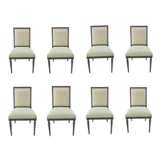 Caracole Modern Gray and Beige Louis Louis Dining Chairs - Set of 8 For Sale