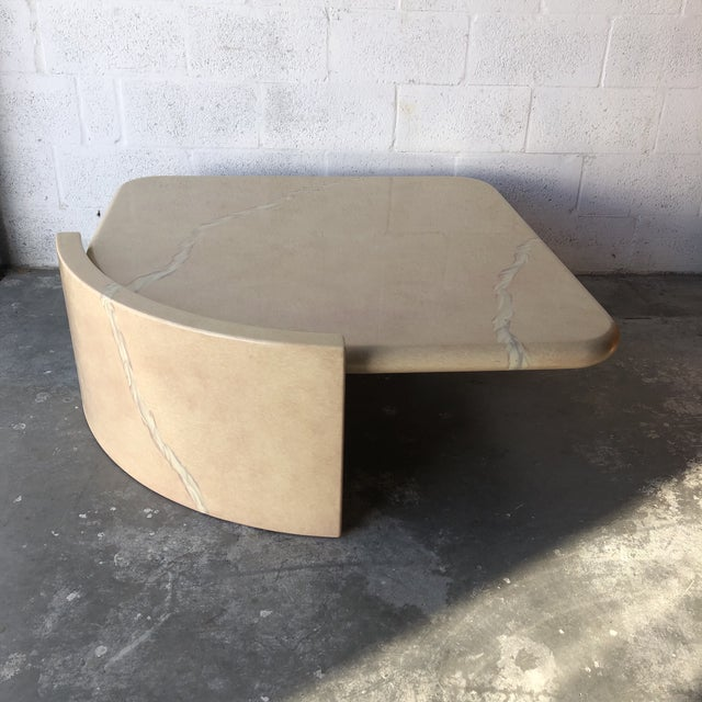 Mid-Century Modern Vintage 1980s Post-Modern Bullnose Lacquered Coffee Table For Sale - Image 3 of 13