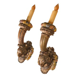 19th Century French Louis XVI Style Gilt Wood Torch Sconces- - a Pair For Sale