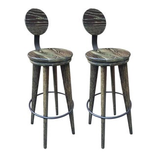 Modern Cerused Oak Stools - a Pair For Sale
