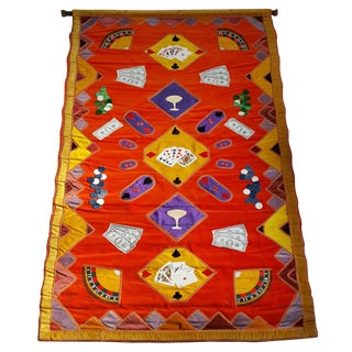 """1950-60s Hand Executed Art """"Casino"""" Jane Ashley Wall Hanging Tapestry For Sale"""