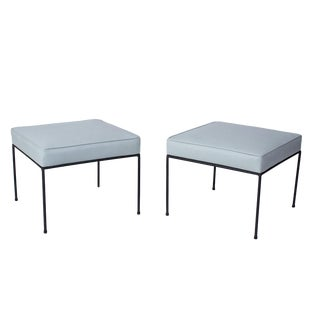 Pair of Paul McCobb Leather Ottomans For Sale