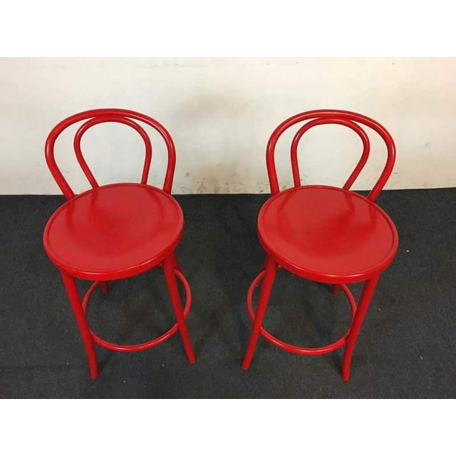 Contemporary Red Metal Bar Stools - A Pair - Image 3 of 6