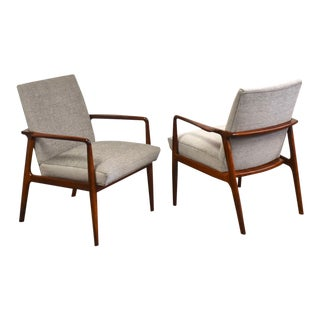 Solid Walnut Grey Lounge Chairs- a Pair For Sale