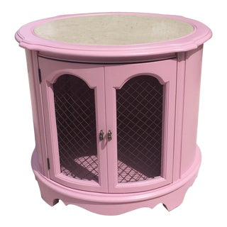 Mid-Century Modern Pink Lacquer Round Side Table With Travertine Marble Inlaid Top For Sale