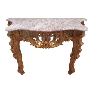 Vintage Rococo Ornate Wood & Marble Top Hand Carved Console Table For Sale