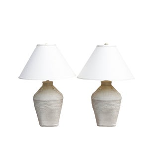 Faux Woven Rattan Cream Table Lamps With Shades - a Pair