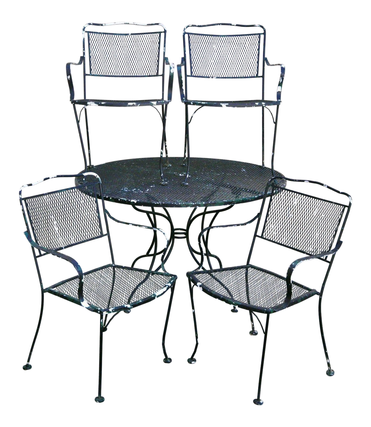 Vintage Wrought Iron Outdoor Patio Dining Set Table 4 Chairs Meadowcraft  Woodard For Sale