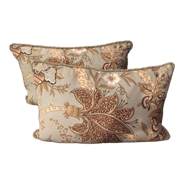 Custom Schumacher Throw Pillows - A Pair - Image 1 of 6