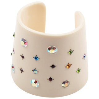French Artisan Studio Oversized Lucite Cuff Bracelet Multicolor Rhinestone For Sale