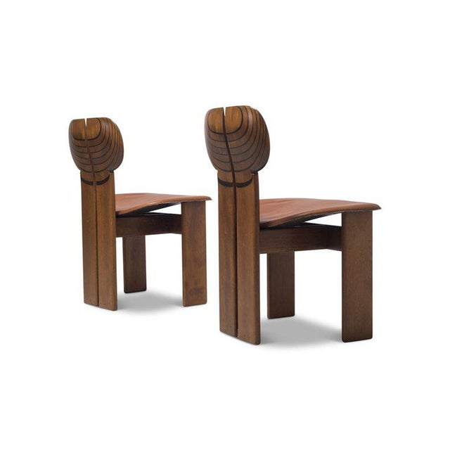 Africa Chairs by Afra and Tobia Scarpa With Cognac Leather Seating For Sale - Image 11 of 12