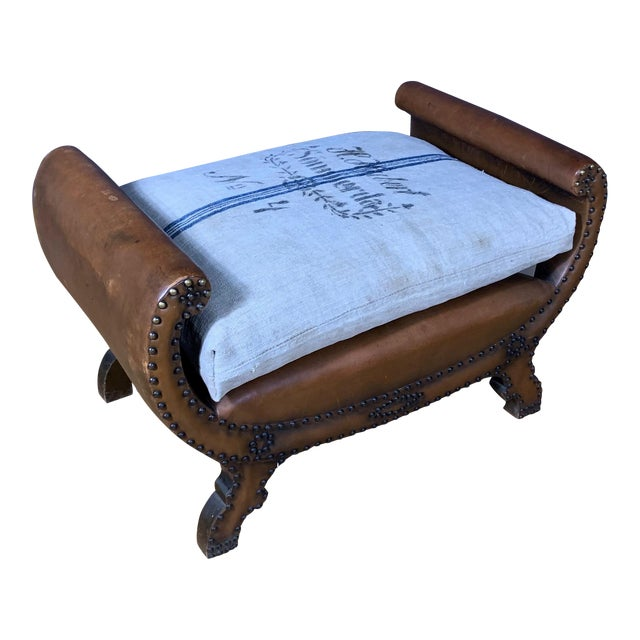 1930s Otto Schulz Leather & Grainsack Footstool, Boet, Sweden For Sale