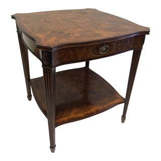 Maitland Smith for Colony Furniture Aged Mahogany Inlaid Regency End Accent Table 1 For Sale