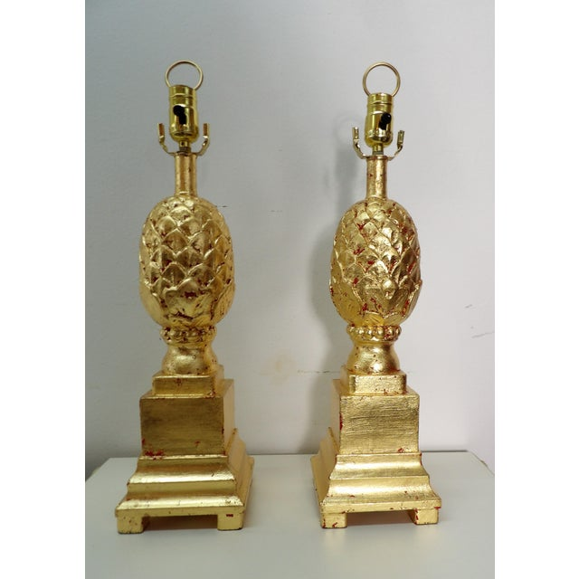 Late 20th Century Vintage Pineapple Lamps in Gold Leaf - a Pair For Sale - Image 5 of 7