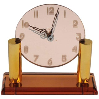 French Art Deco Copper Peach Glass and Brass Table Desk Vanity Clock For Sale