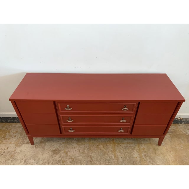 Dixie Dixie Mid-Century Brick Red 9 Drawer Dresser For Sale - Image 4 of 11