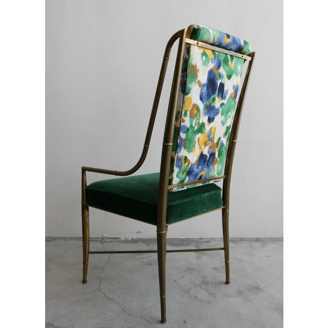 """1970s Set of 6 Solid Brass Faux Bamboo """"Imperial"""" Dining Chairs by Mastercraft For Sale - Image 5 of 8"""