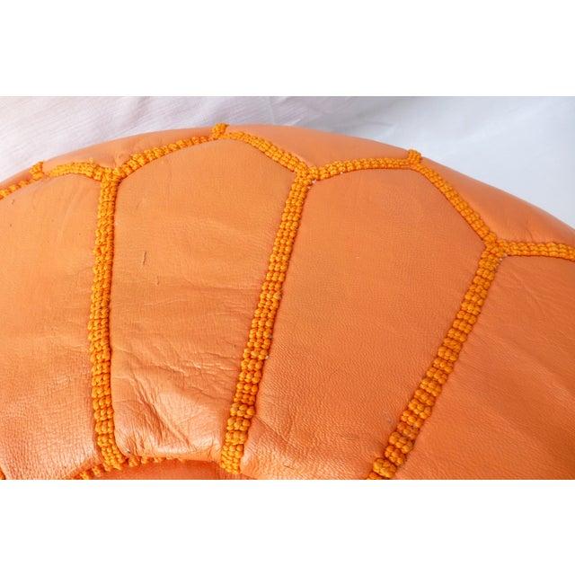 Mid Century Modern Orange Ottoman - Image 9 of 11