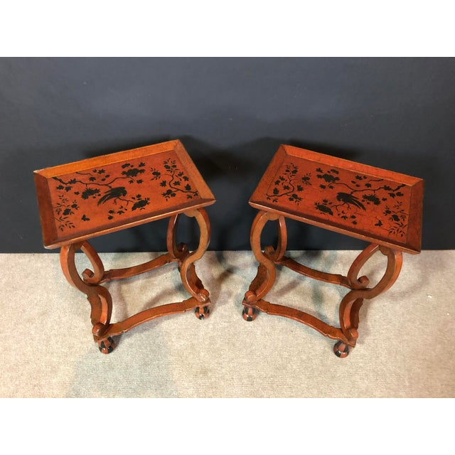 Lacquered and Painted Tray Top Side Tables - a Pair For Sale - Image 11 of 11