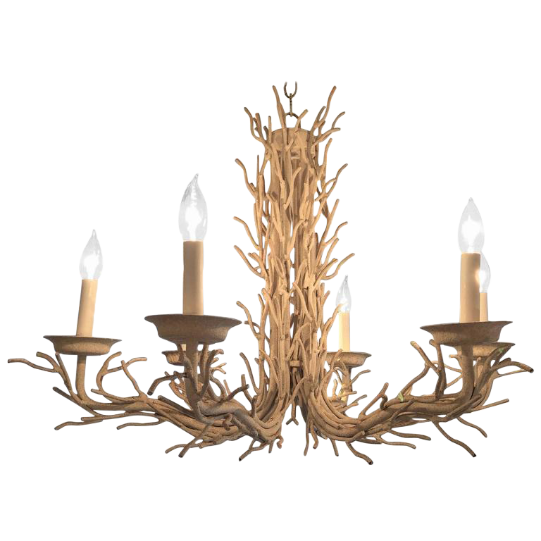 An Organic Modern Home With Subtle Industrial Undertones: Organic Modern White Metal Faux Twig Chandelier