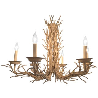 Organic Modern White Metal Faux Twig Chandelier For Sale
