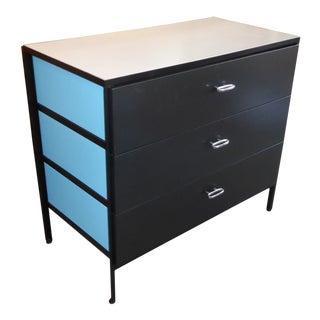 1960s Vintage George Nelson Steel Frame Blue and Black Dresser for Herman Miller For Sale