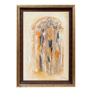 Bata Protic Abstract Oil Painting on Canvas Signed and Dated 1984 For Sale