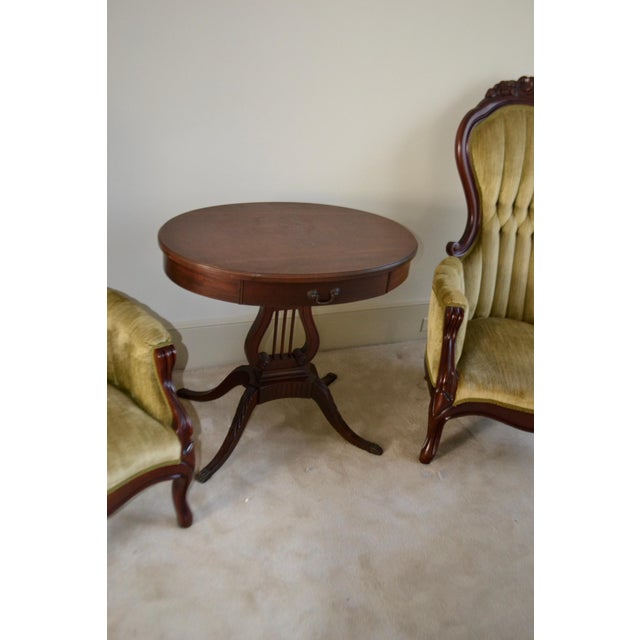 Brown 1943 Kimball Harp Table Solid Mahogany For Sale - Image 8 of 11