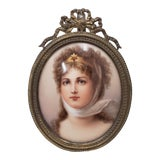 Image of 19th Century Hand Painted Miniature Portrait on Porcelain of a Beautiful Young Lady For Sale