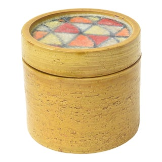 Bitossi Glazed Ceramic Box With Fused Glass Mosaic Top Vintage For Sale