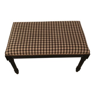 Modern Louis Style Gingham Bench For Sale