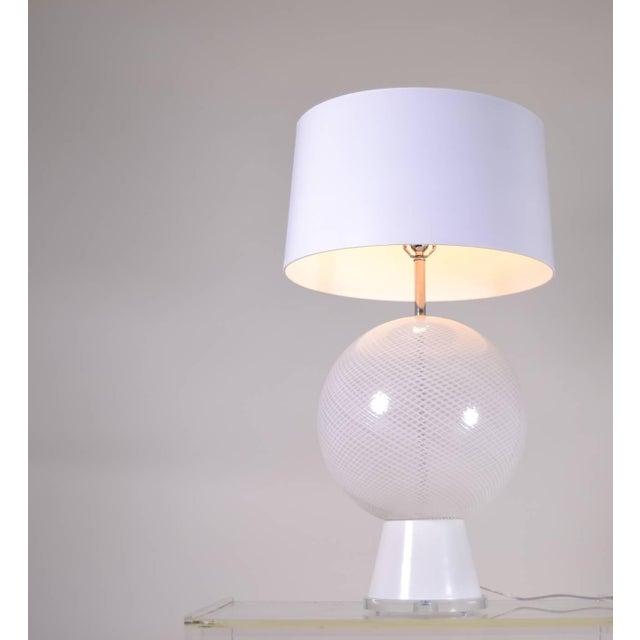 White Large Murano Latticino Sphere Lamp For Sale - Image 8 of 10
